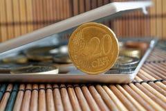 A pilha de moedas do Euro com uma denominação de 20 euro- centavos no espelho reflete mentiras da carteira no fundo de bambu de m Imagem de Stock Royalty Free