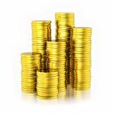 Pilha de moedas douradas Fotos de Stock Royalty Free