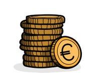 Pilha de moedas (Euro) Fotografia de Stock