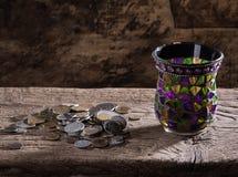 Pilha de moedas velhas Imagem de Stock