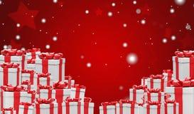 Pilha de muitos presentes no Natal e nos flocos de neve 3d-illustration ilustração royalty free