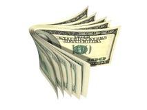 Pilha de nota de banco do dólar isolada Fotografia de Stock