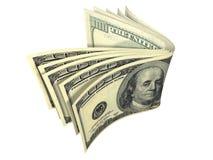 Pilha de nota de banco do dólar isolada Foto de Stock Royalty Free