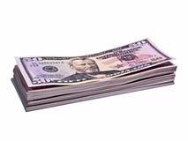 Pilha de notas de banco de 50 dólares isoladas Fotos de Stock