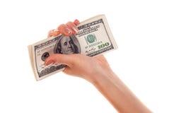 Pilha de notas de banco do dólar s na mão fêmea Foto de Stock Royalty Free