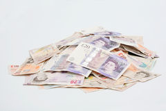 Pilha de notas de banco inglesas Imagem de Stock