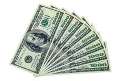 pilha de 1000 notas de dólar Foto de Stock Royalty Free