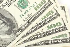 Pilha de notas de dólar do americano cem do dinheiro Imagens de Stock Royalty Free