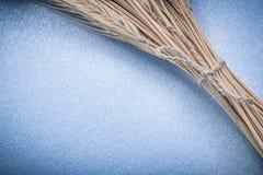 Pilha de orelhas amarrado do trigo-centeio no fundo azul Fotografia de Stock Royalty Free