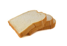 Pilha de pão branco americano cortado no branco Foto de Stock Royalty Free