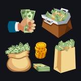 A pilha de papel do dinheiro da finança do negócio do dólar no saco dos pacotes nós edição da operação bancária e contas das cédu ilustração do vetor