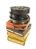 Pilha de películas de 16mm e de suas caixas Fotos de Stock Royalty Free