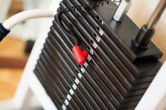 Pilha de pesos oxidados do metal no equipamento do halterofilismo do gym Fotografia de Stock Royalty Free
