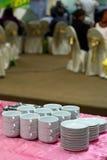 Pilha de placas e de bacia Imagens de Stock Royalty Free