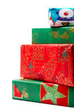 Pilha de presentes coloridos do Natal Imagens de Stock Royalty Free