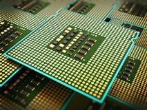 Pilha de processadores centrais modernos ilustração 3D Fotografia de Stock