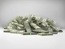 Pilha de 100 punhados da nota de dólar Imagens de Stock Royalty Free