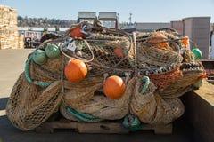 Pilha de redes de pesca fotografia de stock royalty free