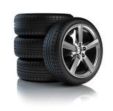 Pilha de rodas de carro ilustração do vetor