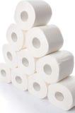 Pilha de rolos do papel higiénico imagens de stock