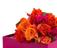 Pilha de rosas alaranjadas e cor-de-rosa Fotografia de Stock