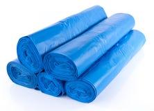 Pilha de sacos de lixo azuis Imagem de Stock