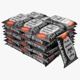 Pilha de sacos de papel com o cimento isolado no branco ilustração 3D ilustração royalty free