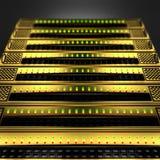 Pilha de servidores dourados no fundo preto ilustração do vetor