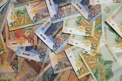 Pilha de Sol Banknotes peruano diferente fotografia de stock