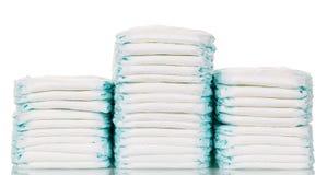 Pilha de tecidos isolados no fundo branco Fotos de Stock Royalty Free