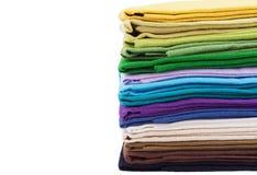 Pilha de tela de linho colorido Fotos de Stock Royalty Free