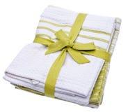 Pilha de toalhas de limpeza verdes fotos de stock royalty free