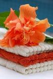 Pilha de toalhas macias com hibiskus imagem de stock royalty free