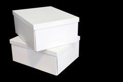 Pilha de três caixas brancas imagens de stock