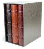 A pilha de três livros da foto na caixa no backround branco Imagens de Stock Royalty Free