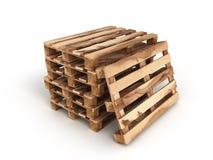 Pilha de três páletes de madeira uma pálete próximo no branco imagens de stock