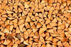 Pilha de triângulos da lenha Imagens de Stock