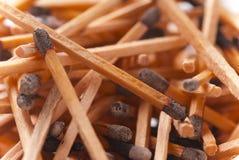 Pilha de varas queimadas do fósforo Fotos de Stock Royalty Free