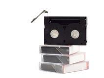 Pilha de videocassettes imagem de stock