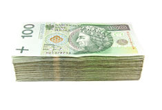 A pilha de zloty polonês isolou-se Imagem de Stock Royalty Free