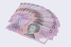 Pilha do australiano cinco cédulas do dólar Imagem de Stock Royalty Free