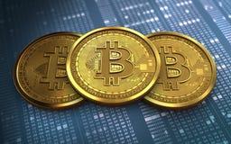 pilha do bitcoin 3d Imagem de Stock