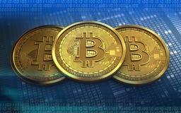 pilha do bitcoin 3d Imagens de Stock Royalty Free