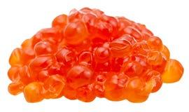 Pilha do caviar vermelho salgado dos peixes da truta isolado fotografia de stock