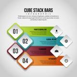 A pilha do cubo barra Infographic Fotos de Stock