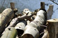 Pilha do detalhe de madeira imagens de stock