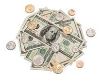 Pilha do dinheiro das moedas e dos dólares fotos de stock royalty free