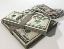 Pilha do dinheiro de dólares Fotografia de Stock Royalty Free