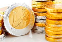 Pilha do dinheiro do Euro do chocolate Imagem de Stock