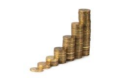 Pilha do dinheiro do ouro isolada no branco Imagem de Stock